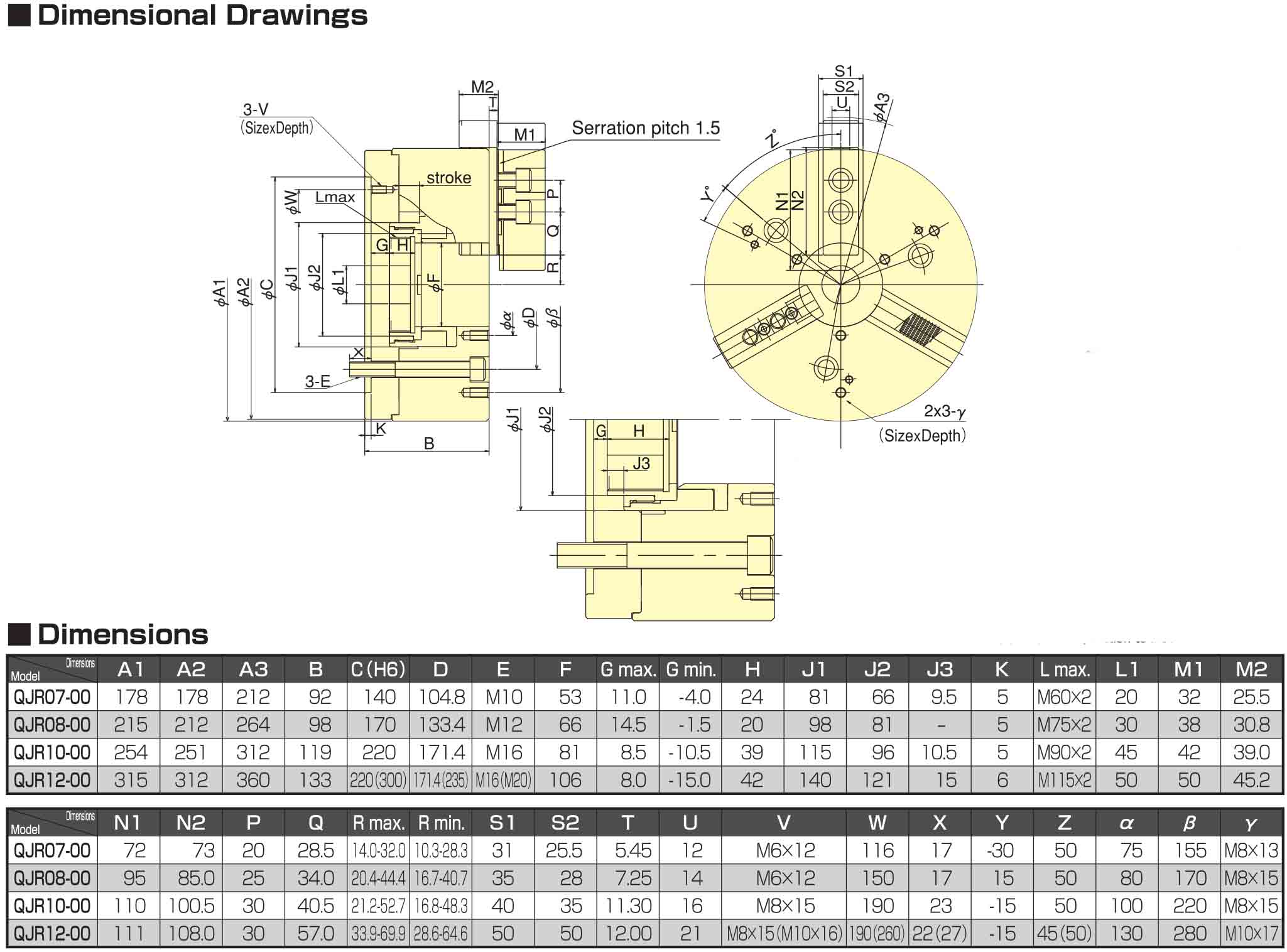 Kitagawa QJR08 Quick Jaw Replacement Chuck Dimensional Drawings