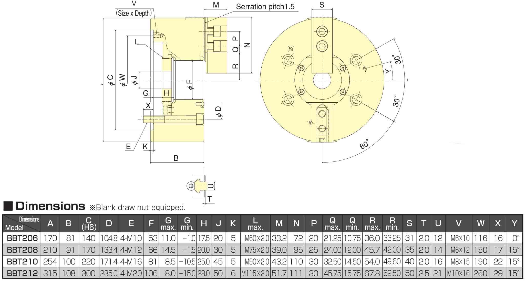 Kitagawa BBT 206 Large Thru-Hole 2-Jaw Power Chuck Dimensions
