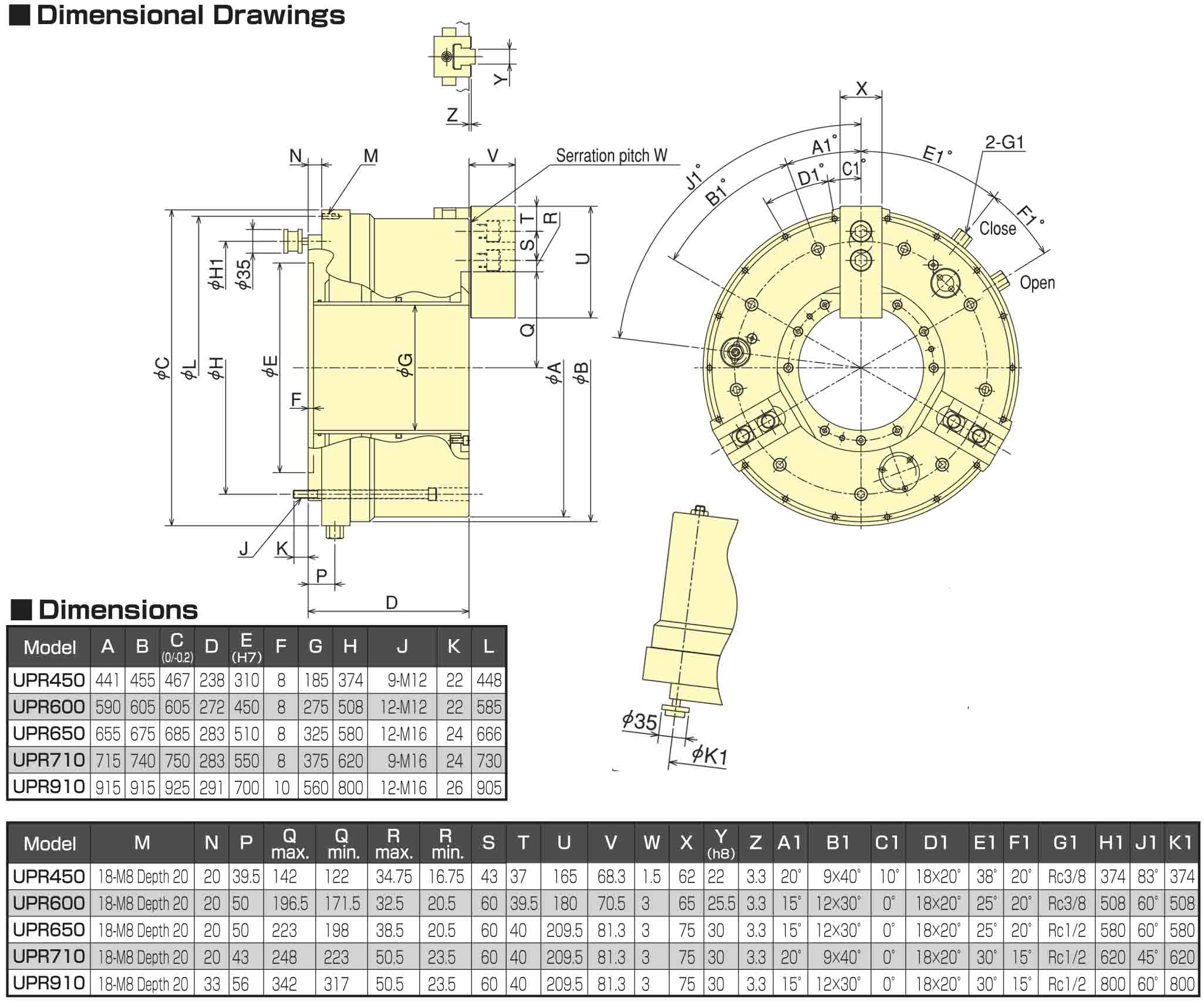 Kitagawa UPR450 Air-Operated Chuck Dimensional Drawings