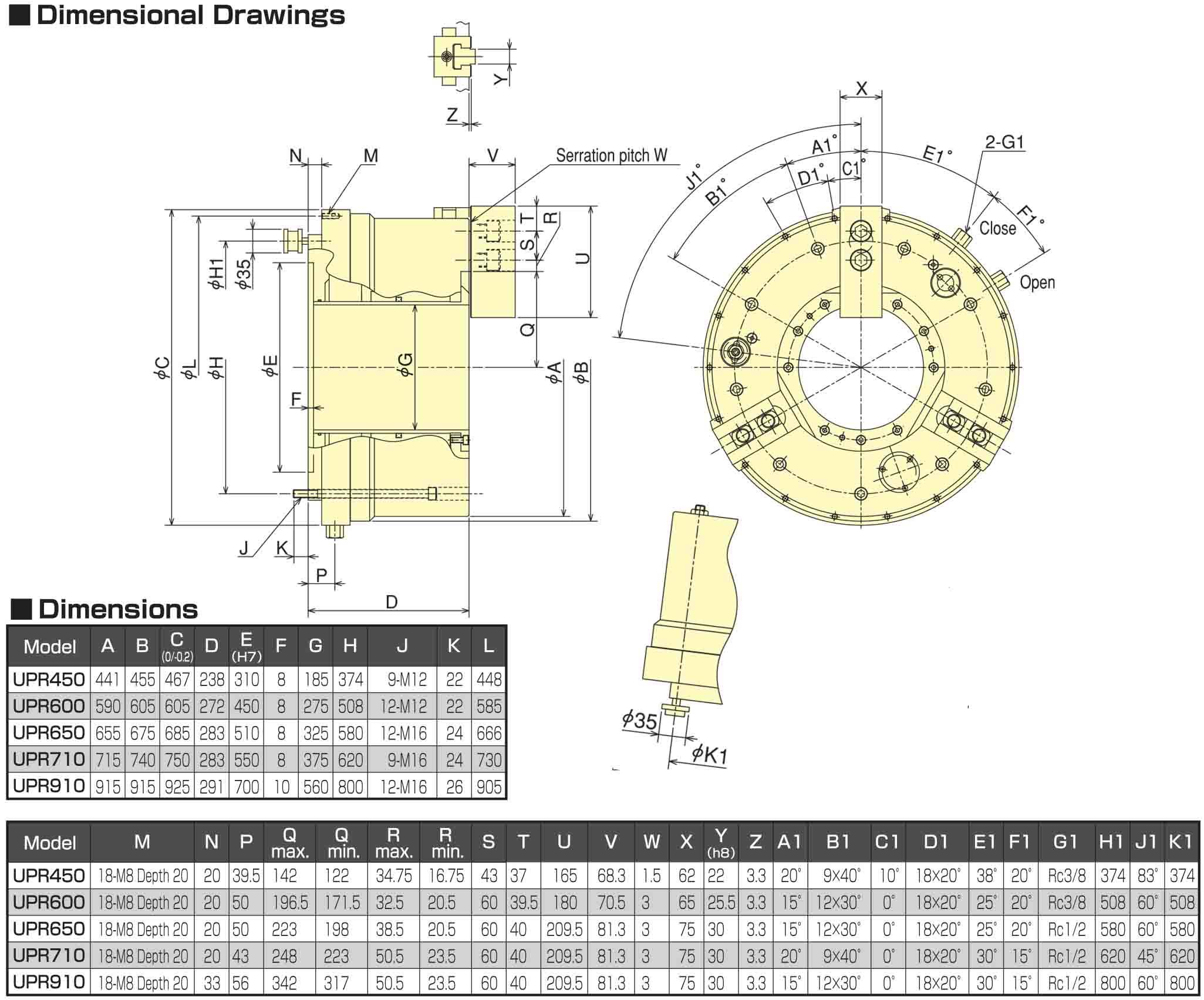 Kitagawa UPR600 Air-Operated Chuck Dimensional Drawings