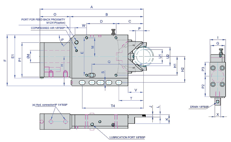AS6011 Grinding Steady Rest Technical Drawing